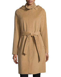 Belted Coat W/Removable Hood, Camel