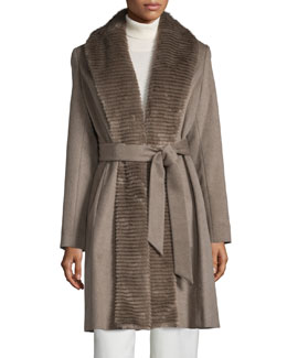 Faux-Fur-Collar Belted Coat, Taupe