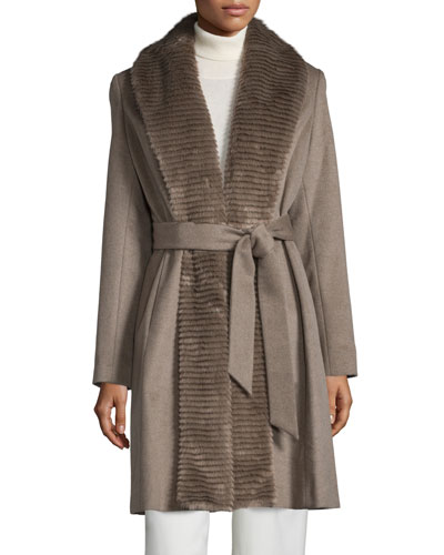 Ellen Tracy Faux-Fur-Collar Belted Coat, Taupe