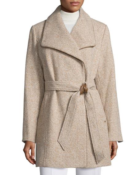 Novelty Wool Wrap Coat, Camel Tweed
