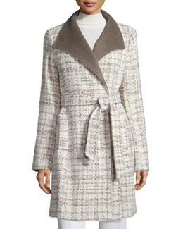 Novelty Wool Wrap Coat, Taupe