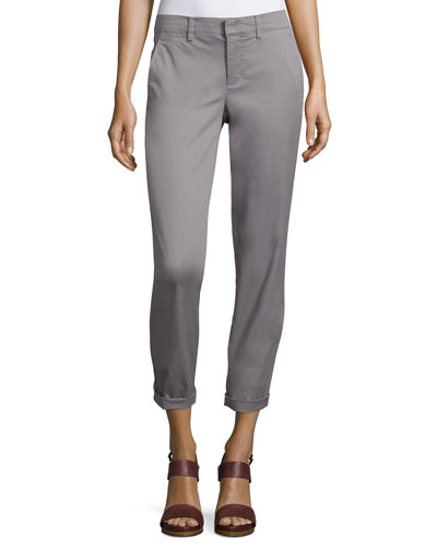 Twill Boyfriend Trousers, Fossil