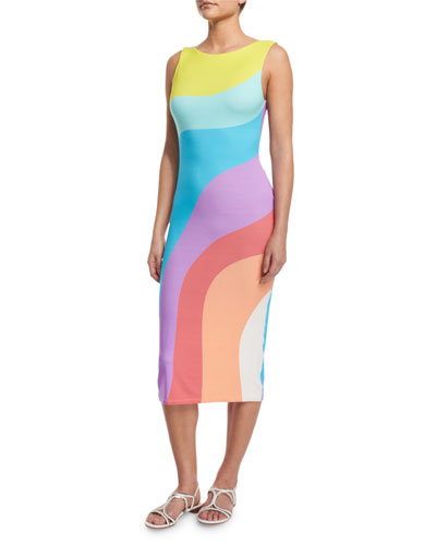 Auralight Colorblock Coverup Midi Dress