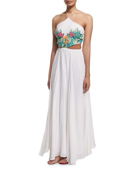 Embroidered-Leaf Cutout Maxi Dress, White Multi