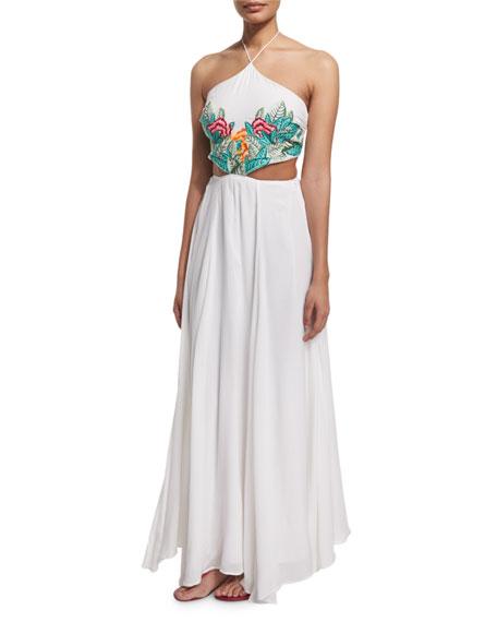 Mara Hoffman Embroidered-Leaf Cutout Maxi Dress, White Multi