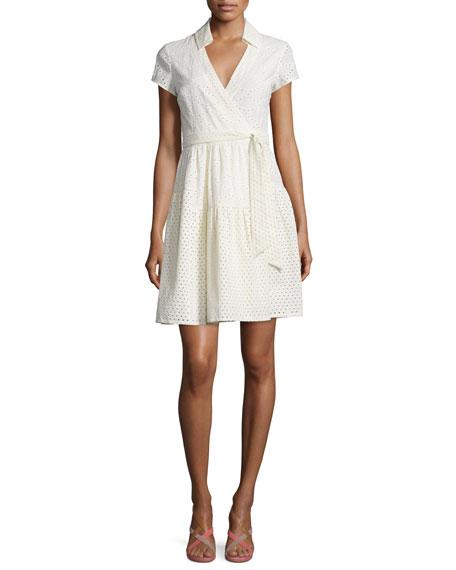 Diane von Furstenberg Kayley Two Eyelet Wrap Shirtdress, Ivory