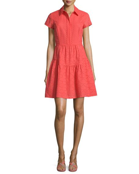 Diane von Furstenberg Skylar Short-Sleeve Eyelet Dress, Ocean