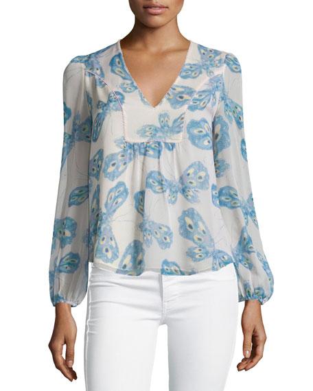 Diane von Furstenberg Maslyn Silk Butterfly Top, Periwinkle