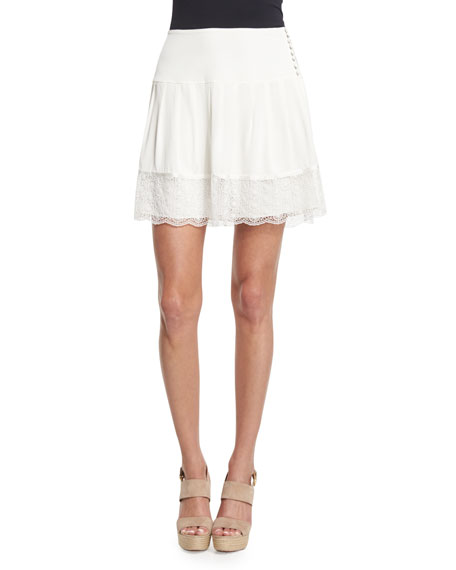 Diane von Furstenberg Belita Lace-Trim A-Line Skirt, Ivory