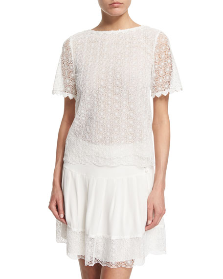 Diane von Furstenberg Brylee Scalloped Textured Top, White