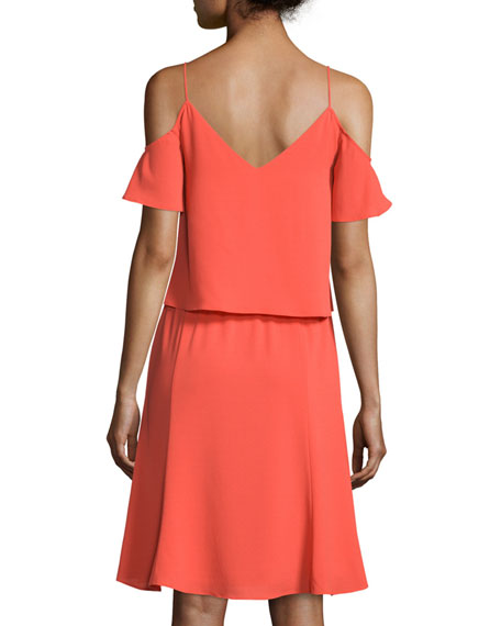 Cooper & Ella Selin Cold-Shoulder Popover Dress, Orange