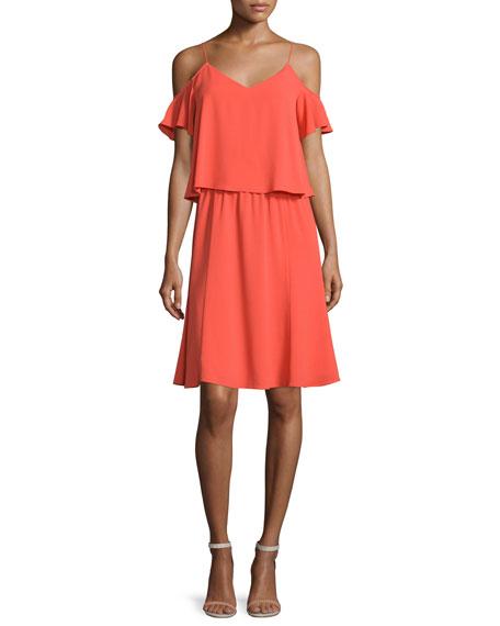 Cooper & Ella Selin Cold-Shoulder Popover Dress, Orange