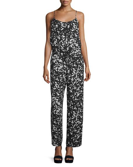 Haute Hippie Sleeveless Tie-Back Jumpsuit, Black/Swan