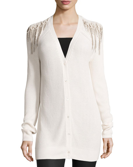 Haute Hippie Luxe Knit Shoulder-Fringe Cardigan, Antique Ivory