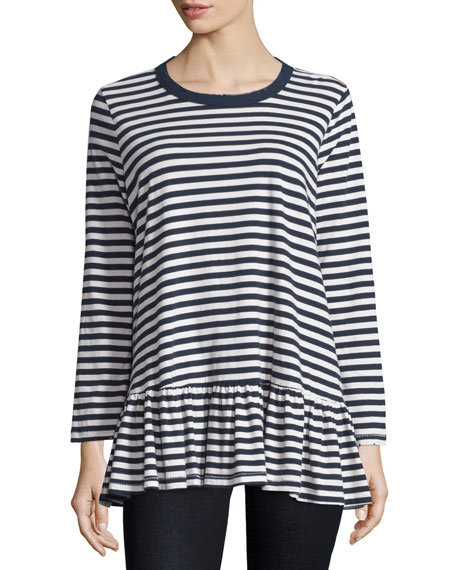 The Great The Baggy Striped Ruffle Tee, Navy/Cream Stripe