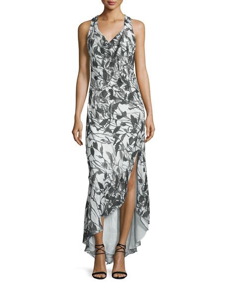 Haute Hippie Cowl-Neck Racerback Maxi Dress, Swan/Black