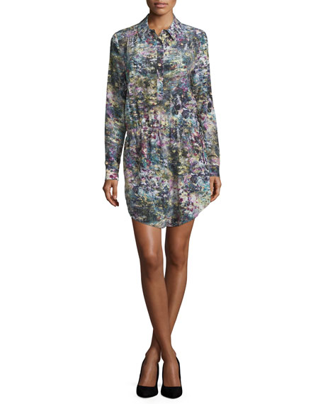 Drawstring-Waist Shirtdress, Swan/Multi