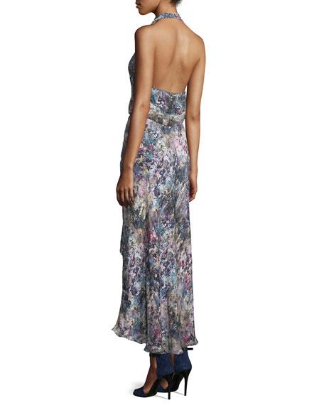 Halter-Neck Faux-Wrap Dress, Swan/Multi