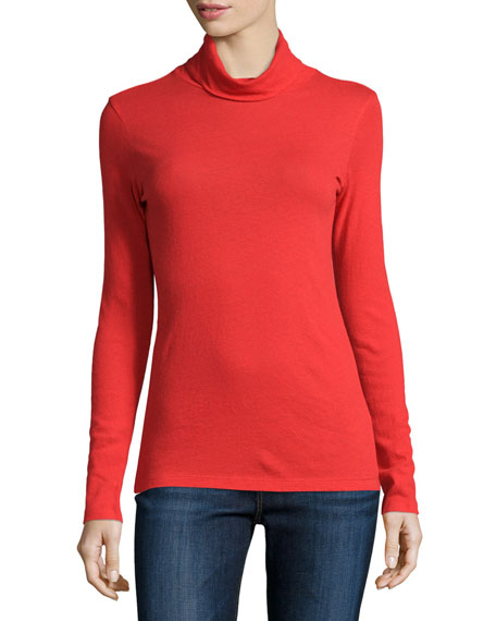 NM Luxury Essentials Long-Sleeve Cotton/Cashmere Turtleneck Top, Winter Sunset