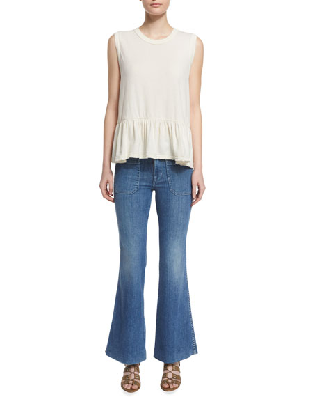 The Mariner Flare-Leg Ankle Jeans, Pacific Blue