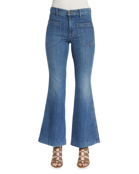 The Great The Mariner Flare-Leg Ankle Jeans, Pacific
