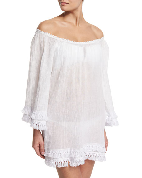 Miguelina Tammy Tassel-Trim Off-Shoulder Coverup Dress, White