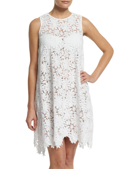 Miguelina Candace Floral-Lace Sleeveless Coverup Dress