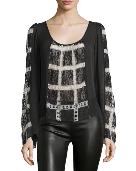 Elizabeth and James Adriana Long-Sleeve Combo Top, Black/Ivory