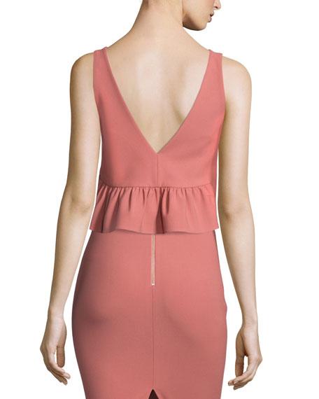 Annaline V-Neck Ruffle Crop Top, Pink