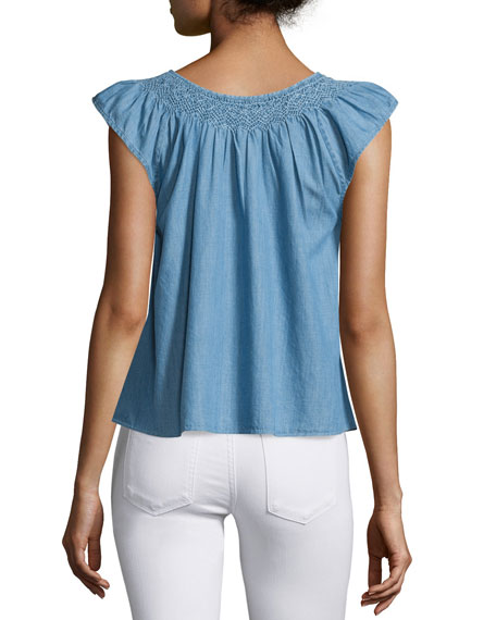 The Flutter Sleeve Embroidered Denim Top, Light Blue