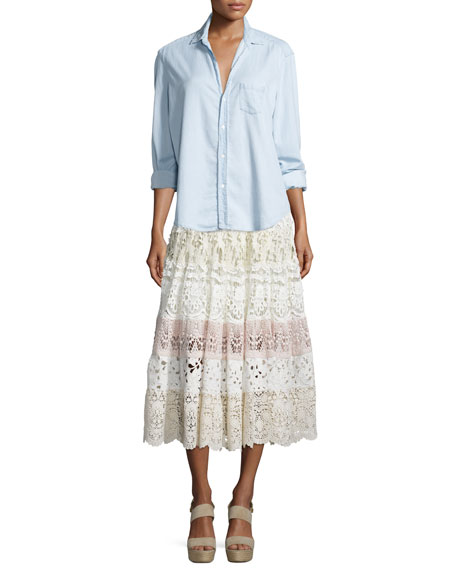 Crochet Lace Tiered Midi Skirt, Neutral/Multi