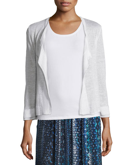 Double-Trim Cardigan, Paper White, Plus Size