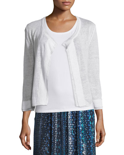 Double-Trim Cardigan, Paper White