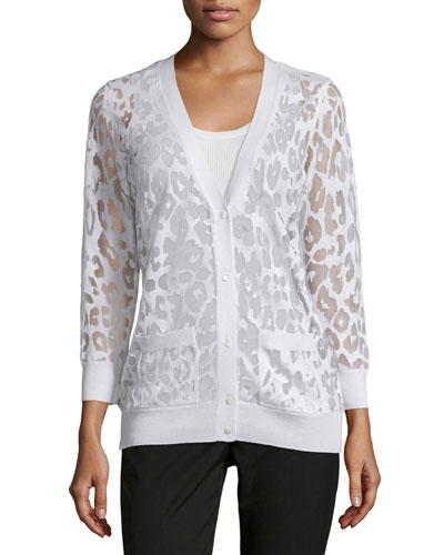 Button-Down Leopard Burnout Cardigan, White