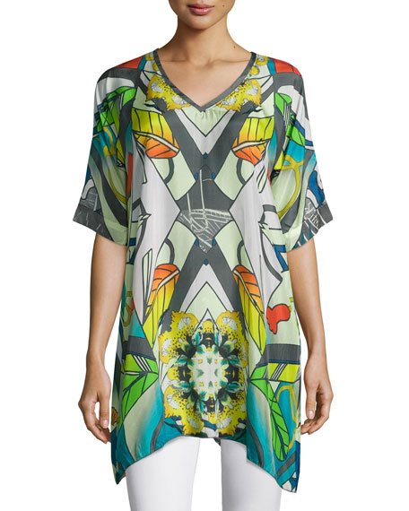 Johnny Was Collection Half-Sleeve Overlay Printed Tunic, Plus