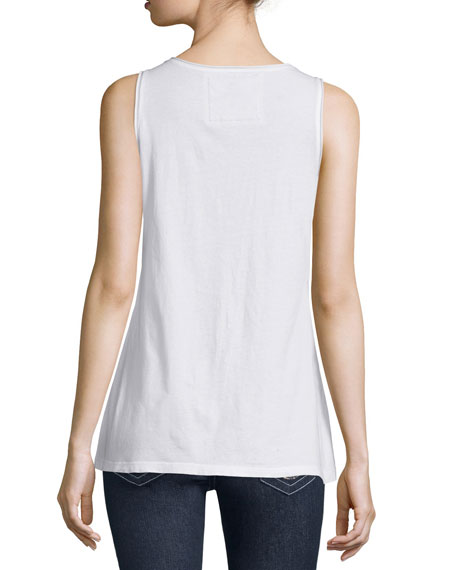 Scoop-Neck Knit Tank, White, Plus Size