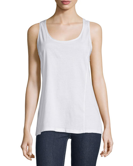 Johnny Was Scoop-Neck Knit Tank, White, Plus Size
