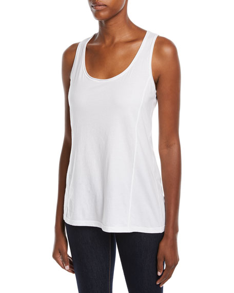 Johnny Was Collection Scoop-Neck Knit Tank, White