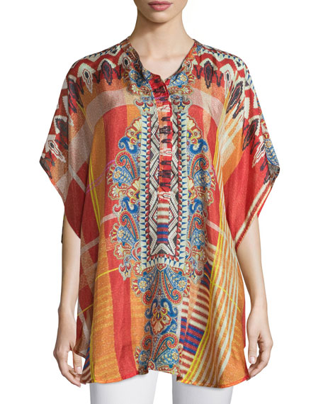 Johnny Was Collection Perro Printed Poncho