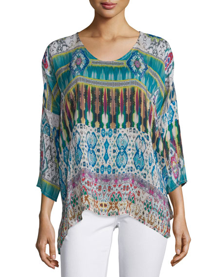 Johnny Was Collection 3/4-Sleeve Printed Tunic, Plus Size