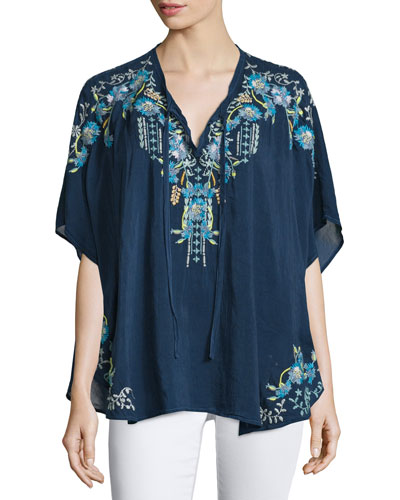 Hope Embroidered Poncho, Women's