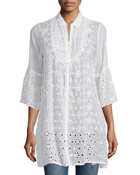 Johnny Was Collection Isabelle Eyelet Button-Front Tunic