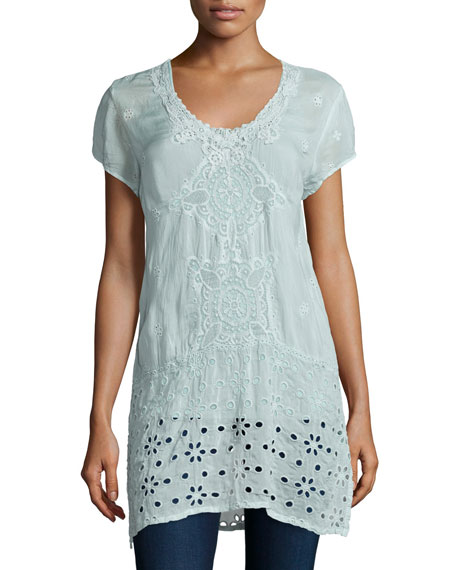 Johnny Was Kelso Short-Sleeve Long Top, Arctic Mint