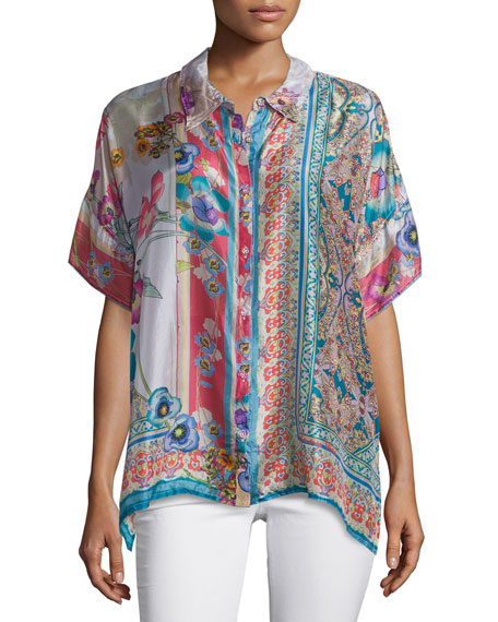 Johnny Was Collection Ajamite Printed Silk Button-Front Blouse