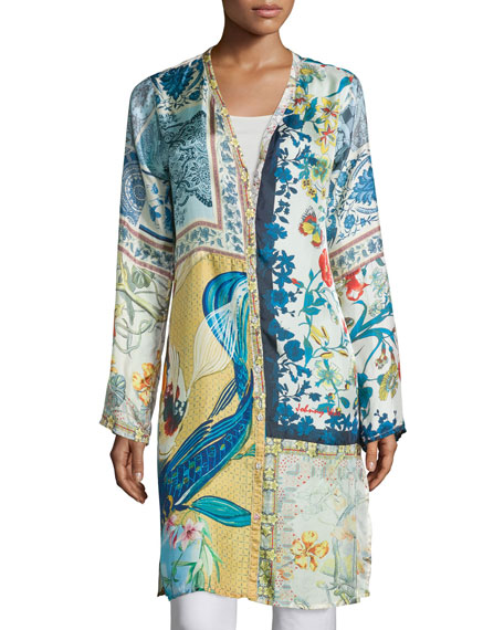 Johnny Was Collection Sunday Printed Button-Front Long Cardigan