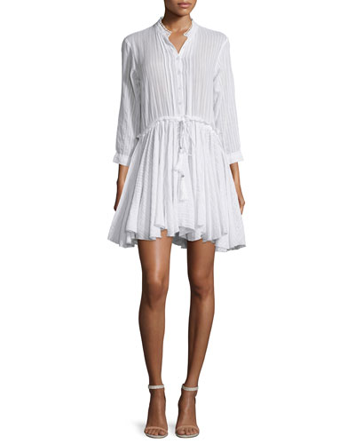 Ranil 3/4-Sleeve Poplin A-Line Dress, Blanc