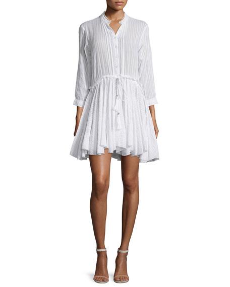 Zadig & Voltaire Ranil 3/4-Sleeve Poplin A-Line Dress, Blanc