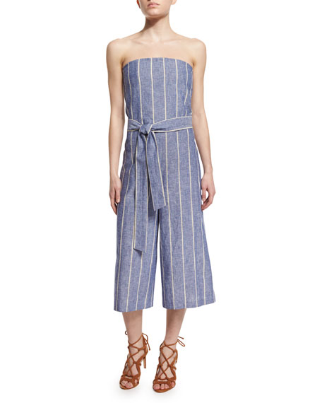 Lucie Strapless Striped Chambray Jumpsuit, Blue