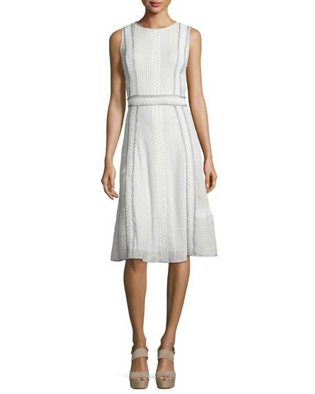 Alice + Olivia Maelyn Embroidered Pintucked Midi Dress, White