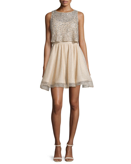 Alice + Olivia Hilta Beaded A-Line Mini Dress,